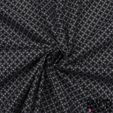Coton imprimé motif fleur en forme géométrique à quatre pétales blanc Fond noir