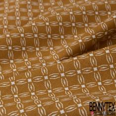 Coton imprimé motif fleur en forme géométrique à quatre pétales blanc Fond moutarde