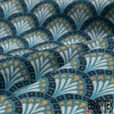Coton Cretonne Modèle DOUCET Ton Bleu mer