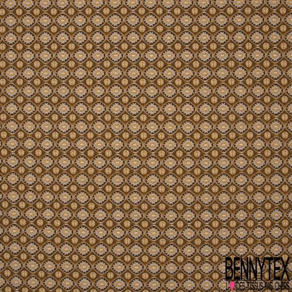 Coton imprimé motif géométrique en forme de yeux Fond moutarde
