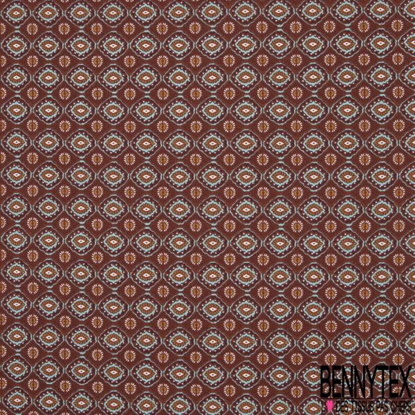 Coton imprimé motif géométrique en forme de yeux Fond lie de vin