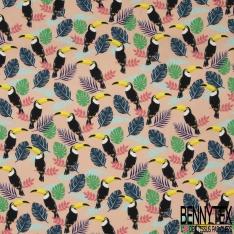 Fibrane Viscose Imprimé Motif toucan et feuilles multicolores Fond saumon