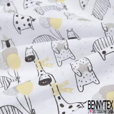 Coton imprimé motif giraffe éléphant et ours accéssoire de fête jaune gris et taupe Fond blanc