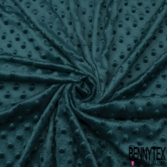 Minky Pois effet Gaufré Uni bleu canard