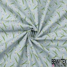 Coton imprimé motif oignon et ail Fond bleu dragée