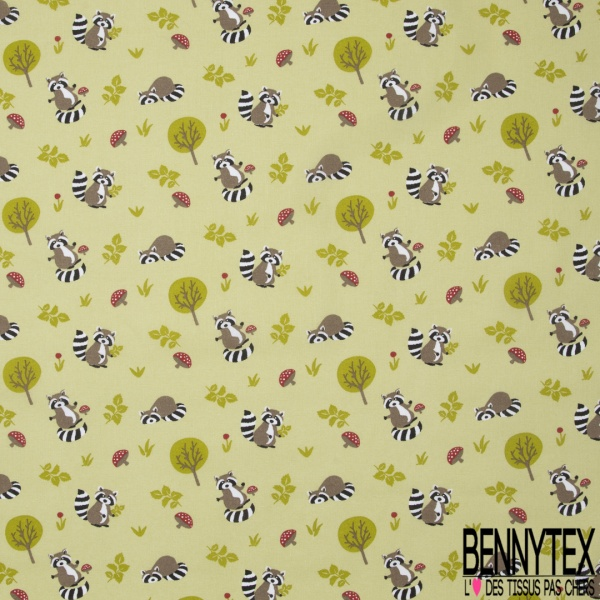 Coton imprimé motif animal lémurien taupe champignons rouge et feuille verte Fond vert pistache