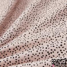 Jersey Viscose Imprimé Motif tache noir Fond rose pâle