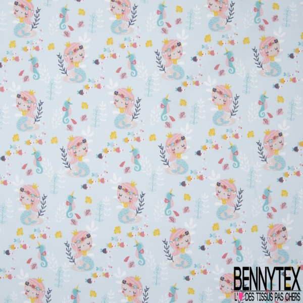Coton imprimé motif Sirene et Poisson Fond Bleu pastelle