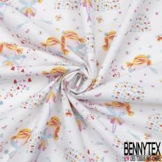 Coton imprimé motif fée papillon étoile et coeur multicolore Fond blanc