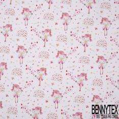 Coton imprimé motif fée papillon étoile et coeur multicolore Fond rose bonbon