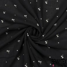 Fibrane Viscose Imprimé Motif palmier et pois écru Fond noir