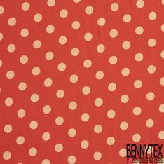 Fibrane Viscose Imprimé Motif pois sable Fond rouge