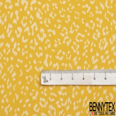 Fibrane Viscose Imprimé Motif léopard blanc Fond jaune
