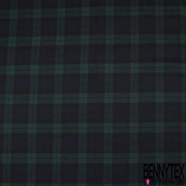 Sergé de Laine Tartan écossais bleu marine noir et vert sapin
