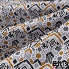 Coton Imprimé Motif Tribal Ethnique ton Gris