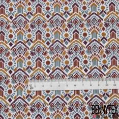 Coton Imprimé Motif Tribal Ethnique ton Ocre