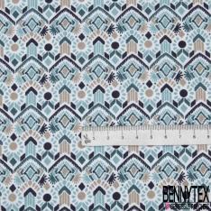 Coton Imprimé Motif Tribal Ethnique ton Bleu Aqua