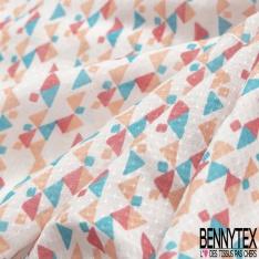 Fibrane Viscose Imprimé Motif carré et triangle saumon bleu azur et fushia Fond blanc