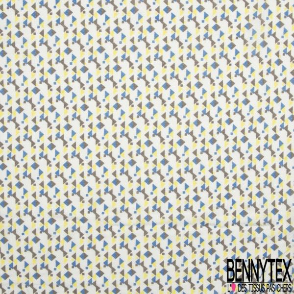 Fibrane Viscose Imprimé Motif carré et triangle taupe foncé bleu et jaune Fond blanc
