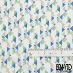 Fibrane Viscose Imprimé Motif carré et triangle gris bleu et vert Fond blanc