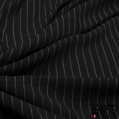Fibrane Viscose Imprimé Motif rayure fine blanche Fond noir