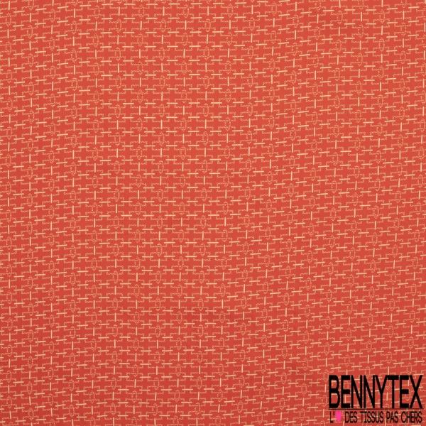 Fibrane Viscose Imprimé Motif chaîne crème Fond corail