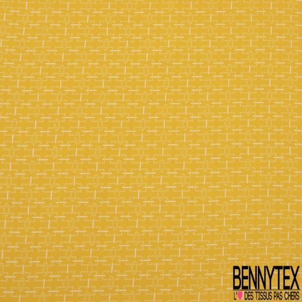 Fibrane Viscose Imprimé Motif chaîne blanc Fond jaune