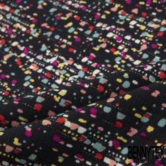 Fibrane Viscose Imprimé Motif taches multicolores Fond noir