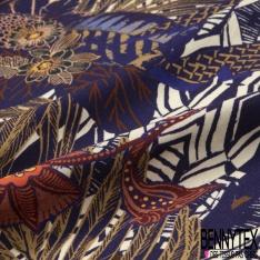 Fibrane Viscose Imprimé Motif feuillage et floral multicolore Fond blanc et bleu marine