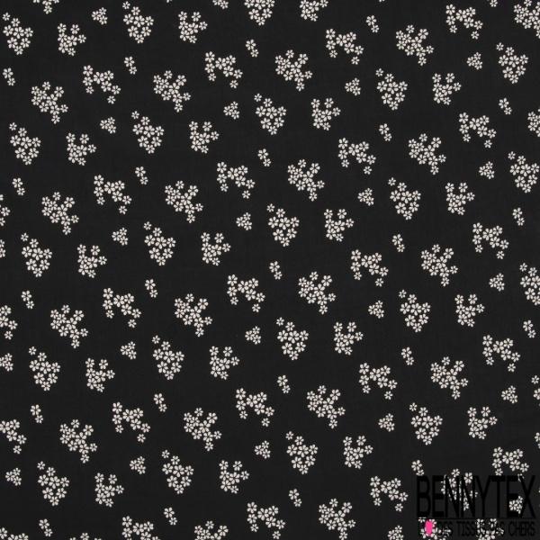 Fibrane Viscose Imprimé Motif petite fleur blanche Fond noir