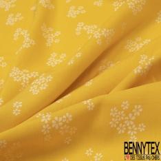 Fibrane Viscose Imprimé Motif petite fleur blanche Fond jaune
