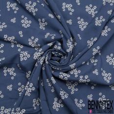 Fibrane Viscose Imprimé Motif petite fleur blanche Fond bleu cobalt