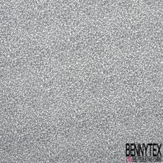 Fibrane Viscose Imprimé Motif petite fleur et feuille a pois noir Fond blanc