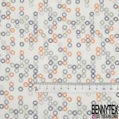 Fibrane Viscose Imprimé Motif double rond orange taupe et bleu marine Fond blanc