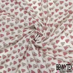 Fibrane Viscose Imprimé Motif triangle a rayure rouge brique et taupe Fond blanc