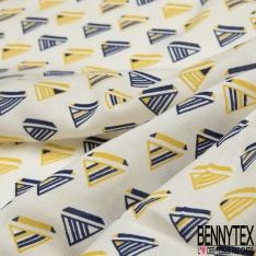 Fibrane Viscose Imprimé Motif triangle a rayure jaune et bleu marine Fond blanc cassé