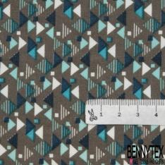 Fibrane Viscose Imprimé Motif carré et triangle ton de bleu Fond taupe