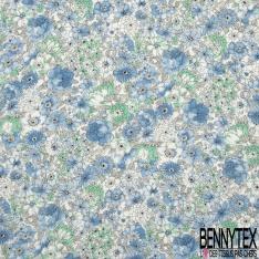 Fibrane Viscose Imprimé Motif fleur bleu mer du sud et bleu pastelle Fond blanc