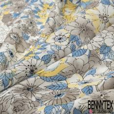 Fibrane Viscose Imprimé Motif fleur gris jaune et bleu indigo Fond blanc