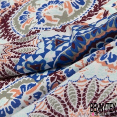 Fibrane Viscose Imprimé Motif mandala bleu roi saumon lie de vin et vert d'eau Fond kaki