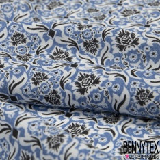 Fibrane Viscose Imprimé Motif fleur japonaise Fond bleu maya