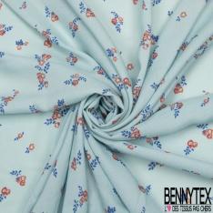 Fibrane Viscose Imprimé Motif petite fleur corail et feuille bleu roi Fond bleu pastel foncé