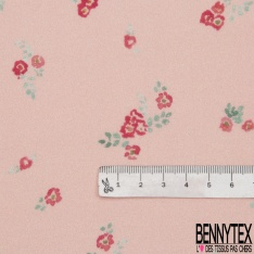 Fibrane Viscose Imprimé Motif petite fleur fuchsia et feuille vert Fond rose pâle