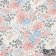 Fibrane Viscose Imprimé Motif flamant rose petit coeur étoile et fleurs rouge noir et bleu roi Fond blanc