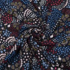 Fibrane Viscose Imprimé Motif flamant rose petit coeur étoile et fleurs rouge rose et bleu roi Fond noir