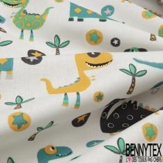 Cretonne 100 % Coton Imprimé motif dinosaure palmier et étoile gris jaune et émeraude Fond blanc cassé