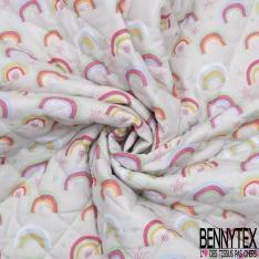 Coton Matelassé imprimé Recto licorne et arc en ciel Fond lilas Verso arc en ciel Fond gris