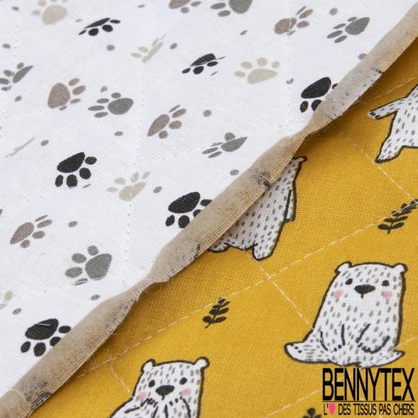 Coton Matelassé imprimé Recto petits oursons Fond moutarde Verso pâtes d'ours Fond blanc