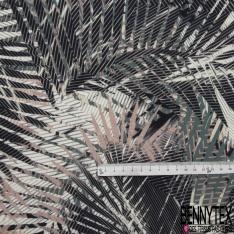 Fibrane Viscose Imprimé Motif feuille tropical vieux rose kaki noir et blanc Fond sable