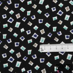 Fibrane Viscose Imprimé Motif carré blanc avec tâche bleu marine taupe et bleu aqua Fond noir